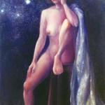 池之野江美『星降る夜』油彩