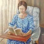 吉田稔『読書する女』油彩