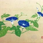 板橋克法『朝顔』日本画(紙本膠彩)