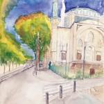 加藤麻夫『モスクと秋の空』水彩
