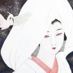 末岡真理子『鷺娘』日本画(紙本膠彩)