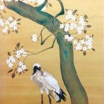 山本益実『桜鶴図』日本画(絹本膠彩)